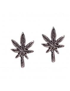 Pendientes marihuana de plata